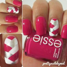 PINK with Silver & White Cross-Striped Mani....