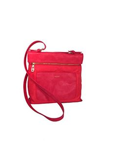 Isaac Mizrahi Womens Fashion Designer Handbags Womens Joan Nylon Leather Crossbody Bag Watermelon Red
