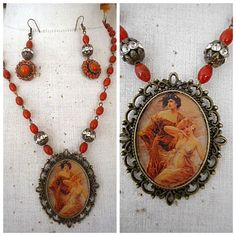 Hand-crafted One of a Kind Vintage Cameo Ladies Coral Pendant Necklace Earrings…