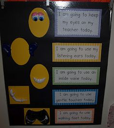 Deanna Jump& Classroom Behavior Chart with Mr. Potato Head Prompts as Visual Clues Classroom Behavior Chart, Behaviour Chart, Classroom Rules, Kindergarten Classroom, Future Classroom, Classroom Ideas, Classroom Expectations, Classroom Activities, Mindful Classroom