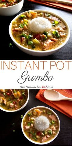 Delicious Instant Pot Louisiana Gumbo is a quintessential New Orleans dish that is hearty, satisfying, flavorful and perfect for a crowd. Made with chicken, sausage and shrimp, it tastes amazing when served over rice. From Paint the Kitchen Red Instant Pot Pressure Cooker, Pressure Cooker Recipes, Pressure Cooking, Slow Cooker, Paleo Dinner, Dinner Recipes, Gumbo Recipes, Paella, Louisiana Gumbo