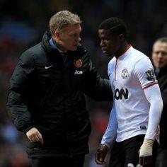 Manchester United manager David Moyes and Wilfried Zaha