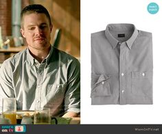 Oliver's grey button front shirt with pocket on Arrow. Outfit Details: http://wornontv.net/52770/ #Arrow