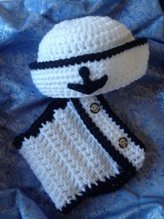Sailor Set, Crochet Hat and Diaper Cover Set, White and Navy, Nautical Anchor Details, Photo Prop, Newborn Baby First Photos by PixieloopsProps on Etsy https://www.etsy.com/listing/185759075/sailor-set-crochet-hat-and-diaper-cover