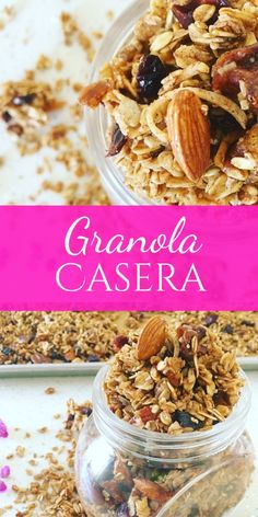 Granola Casera - Whole Tutorial and Ideas Sugar Free Breakfast, Breakfast Recipes, Sweet Recipes, Vegan Recipes, Cooking Recipes, Chia Pudding, Healthy Snacks, Healthy Eating, Sweet Cooking
