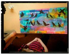 """Studio-kids in Ballard, North Beach 4 th grade 'birds on a wire"""""""