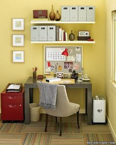 LOVE this. The walls will be that yellowish (lighter though), and I want to paint my shelves cream or white and my desk and chair are darker like this. Love how bright it feels.