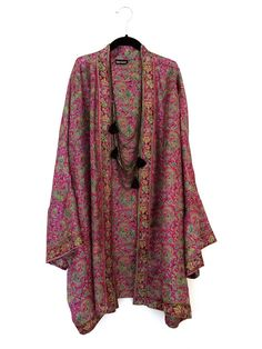 Silk Kimono jacket oversized / cocoon cover up magenta by Bibiluxe, £75.00