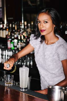 """4 Bartenders Spill Their Beauty Secrets #refinery29  http://www.refinery29.com/bartender-beauty-advice#slide10  What about your hair? How do you style that for work? """"I always like to keep my hair clean. I wash it more than I should, probably! I'll wear it in a bun, way at the top of my head. I call it my disco bun."""""""
