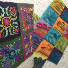 Shot cottons were also on the wall today. Fiona @fiona_ralphs is making a quilt based on two of Kim McLean's patterns - beautiful colour combinations. Kerry @gvskas is working on her version of my Balance quilt - meditative hand sewing. Shot cottons make lovely backgrounds. More next month #needleturnapplique #classes #materialobsession