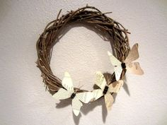Recycled Book Page Butterfly Wreath - DIY Inspired Wreath Crafts, Diy Wreath, Grapevine Wreath, Butterfly Stencil, Book Page Wreath, Book Page Crafts, Recycled Books, Repurposed Items, Xmas Wreaths