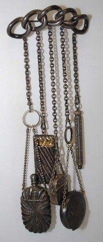 Victorian Antique Chatelaines | Victorian Antique 5 Piece Silver Chatelaine & Clip Pin