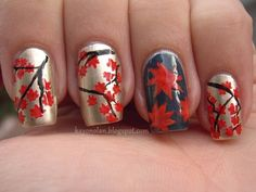 Attractive Thanksgiving Red Maple Leaves Nails Design Ideas - Autumn Gold and Black #2014 #thanksgiving