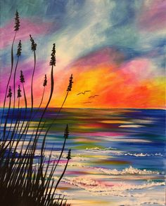 View Paint and Sip Artwork - Pinot's Palette Watercolor Landscape, Landscape Paintings, Watercolor Paintings, Acrylic Paintings, Sunrise Painting, Sunrise Drawing, Paint And Sip, Beach Art, Painting Inspiration