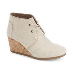 """TOMS 'Desert' Espadrille Wedge Bootie, 2 1/2"""" heel ($66) ❤ liked on Polyvore featuring shoes, boots, ankle booties, natural metallic linen, wedge boots, ankle boots, short boots, lace-up wedge booties and lace up wedge bootie"""