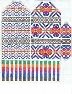 Knitted Mittens Pattern, Fair Isle Knitting Patterns, Knit Mittens, Knitting Charts, Knitted Gloves, Knitting Stitches, Knitting Socks, Hand Knitting, Norwegian Knitting
