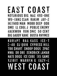 Rap Poster - East West Coast Hiphop Rappers - Subway Poster, Boyfriend Gift, Fathers Day Gift, Wall Art, Train Scroll, Bus Scroll, Word Art