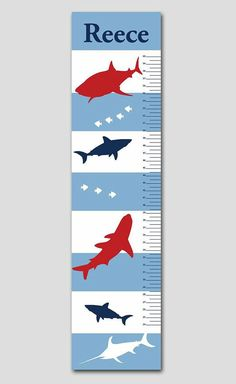 Sharks in the Deep Blue Sea Growth Chart. These growth charts are absolutely beautiful and made of the highest quality. Coordinates well with several popular nursery designs.