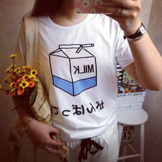 HARAJUKU Japanese Letter Milk Carton White by RainieCuteshopz