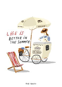 icecream bike in summer! illustration by moreparsley morepar Art And Illustration, Illustration Mignonne, Monster Illustration, Illustrations And Posters, Music Drawings, Art Drawings, Crayola, Graphic, Foto E Video
