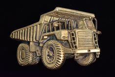 1979 Dump Truck Mining Miner Construction Vintage Solid Brass Belt Buckle Brass Belt Buckles, Vintage Belt Buckles, Dump Truck, Style Snaps, Solid Brass, Monster Trucks, Career, Construction, Tattoos