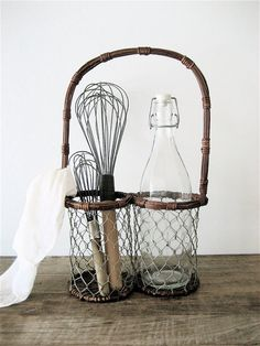 way to use a cute wine tote basket as French kitchen utensil storage