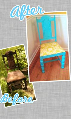 refurbished turquoise and magenta wooden arm chair | the natural