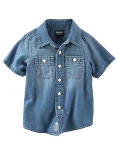 Toddler Boy 2-Pocket Chambray Button-Front Shirt from OshKosh B'gosh. Shop clothing & accessories from a trusted name in kids, toddlers, and baby clothes.