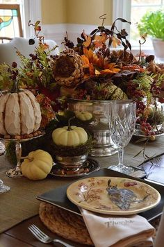 thanksgiving tablescape, seasonal holiday d cor, thanksgiving decorations, Faux and natural pumpkins among crystal and silver