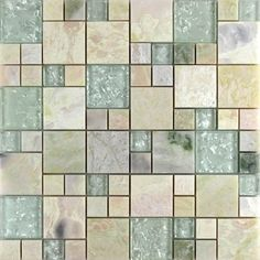 Natural Stone with Green Crystal Mosaic Tile Sheet Marble Backsplash of  Wall Stickers Bedroom Kitchen, 300x300mm,  Stone and Glass Blend Mosaic Tile