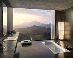 Stunning bathroom with mountain view designed by Valkyrie Studio. --------- #luxury #luxuryhome #architecture #architect #interiorhome #arquitetura #design #house #home #beautiful #modern #arquitectura #instahome #instadesign #interiordesign #bathroom #view #mountain