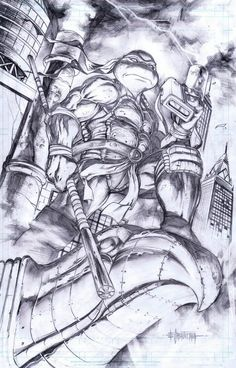 Donatello, in Emil Cabaltierra's My Artworks Comic Art Gallery Room Ninja Turtle Drawing, Ninja Turtles Art, Teenage Mutant Ninja Turtles, Ninja Turtle Tattoos, Tmnt, Comic Books Art, Comic Art, Arte Dc Comics, Desenho Tattoo