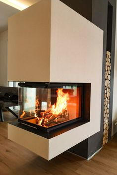 Indoor Gas Fireplace, Floating Fireplace, Diy Fireplace, Fireplace Design, Interior Exterior, Home Interior Design, Balcony Railing Design, Wine Cellar Design, Double Sided Fireplace