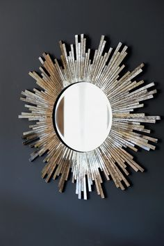 A gorgeous burnished sunburst mirror. This is stylish mosaic, sunburst wall mirror. It is a real statement piece and would look great above a Industrial Wall Mirrors, Metal Wall Decor, Sunburst Wall Decor, Diy Mirror, Decorate A Mirror, Mirror Wall Clock, Mirror House, Mirror Glass, Vintage Mirrors