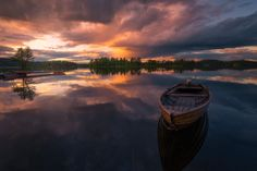 Tranquility - Just another lake scene from Ringerike, Norway. Have shot this comp before and will probably do it again. Reflection Photography, Landscape Photography, Nature Photography, Travel Photography, Abstract Images, Cool Landscapes, Photos Of The Week, Beautiful Sunset, Fishing Boats