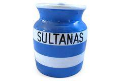 English Cornishware Sultanas Canister on OneKingsLane.com