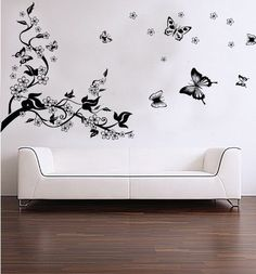 Removable Vinyl Wall Sticker Mural Decal Art - Dancing Butterflies and Tree Branch by A1 Stickers Direct, http://www.amazon.co.uk/dp/B005MDV1NK/ref=cm_sw_r_pi_dp_-bV-qb1E0PFV7
