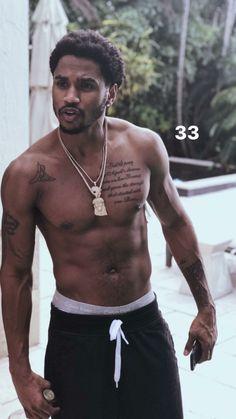 💙 for more pins ' Cute Black Guys, Gorgeous Black Men, Fine Black Men, Handsome Black Men, Black Boys, Fine Men, Beautiful Men, Trey Songz Shirtless, Art Africain