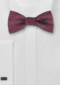 Red Self Tie Bow Tie with Gray Paisley Design | Bows-N-Ties.com