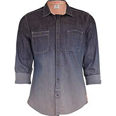 River Island Purple Dip Dye Denim Shirt