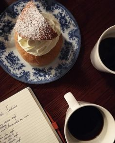 Coffee and Semla, the swedish bun filled with whipped cream, almond and plenty of cardamom