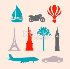 Travel Stencil Stamp Icons Royalty Free Stock Vector Art Illustration