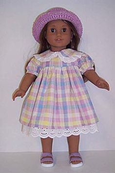 Dori's Doll Boutique - 85869L-LAVENDER PASTEL PLAID DRESS WITH LAVENDER HAT, $16.96 (http://www.dorisdollboutique.com/85869l-lavender-pastel-plaid-dress-with-lavender-hat/)