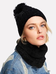 Shop Knit Bobble Hat With Infinity Scarf online. SheIn offers Knit Bobble Hat With Infinity Scarf & more to fit your fashionable needs. Bobble Hats, Wool Berets, Scarf Hat, Kids Fashion, Fashion Design, Romwe, Winter Hats, Style Inspiration, Infinity