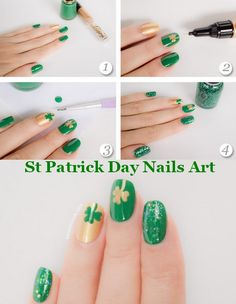st patrick day nails art. check out www.MyNailPolishObsession.com for more nail art ideas.