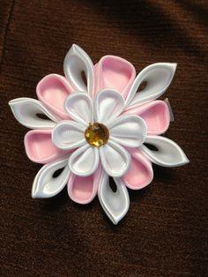 Pink&purple kanzashi flower hair clip