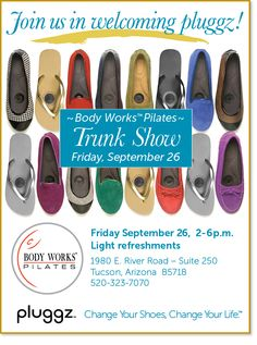 Will you be in the Tucson area on Fri, Sept. 26?  Then come by our booth at the Trunk Show!  We'll be there with Body Works Pilates; there'll be refreshments, giveaways and loads of fun!  www.pluggz.com