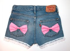 Jean shorts with pink bows. Adorable!
