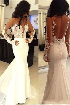 Long Sleeve Lace Open Back Mermaid Wedding Dresses 2017 Custom Gowns Affordable Bridal 17117