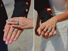 #usmcwedding #wedding #marines #dressblues #oceanside #camppendleton #weddingrings #beachwedding